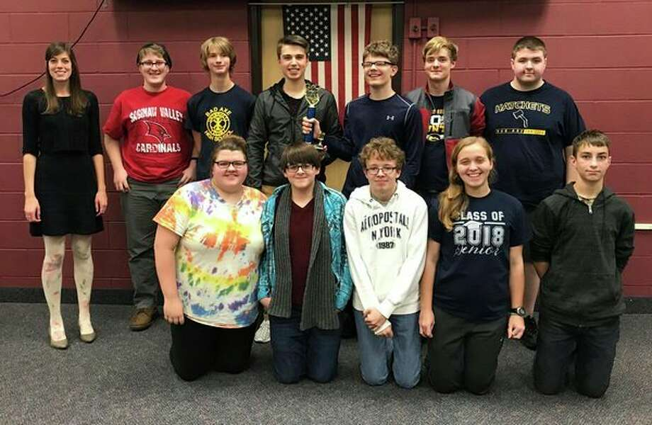 The Bad Axe quiz bowl team did well at a competition recently. the team consists of (second row from left): Michael Teffeteller, Kevin Doerr, Blake Holdwick, Jacob Shemka, Scott Metzger, Jake Vaillancourt; (First row from left): Aurora Krueger, Dante Kopah, Josh Robinson, Jennifer Rogers, Dante Knarian (Submitted Photo)