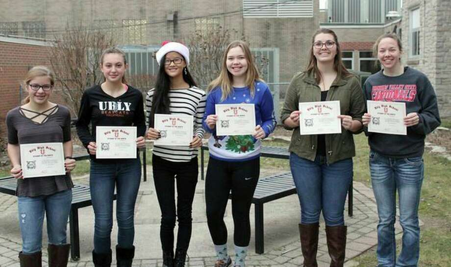 Ubly Community Schools' December students of the month are: Jalyn Kolar, 7th grade; Lily Kielszwski, 8th grade; Haley Krueger, 9th grade; Danielle Tschirhart, 10th grade; Arisa Osentoski, 11th grade; and Janelle White, 12th grade. (Submitted Photo)