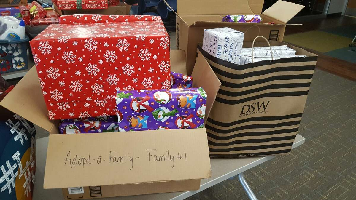 Some of the gifts Meridian Early College High School students gave to 10 families the school adopted for Christmas this year.
