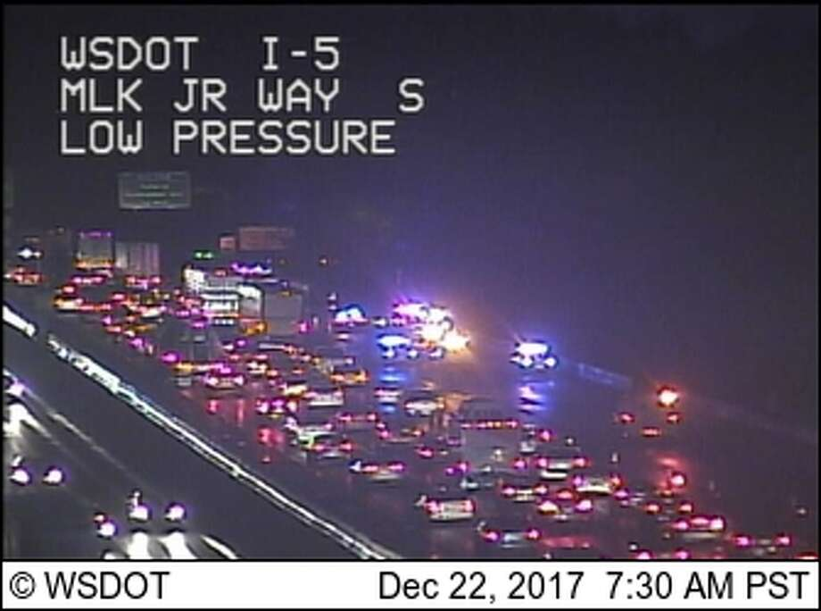 A crash blocked the right two lanes of southbound I-5 near MLK Jr. Way early Friday morning. Photo: WSDOT