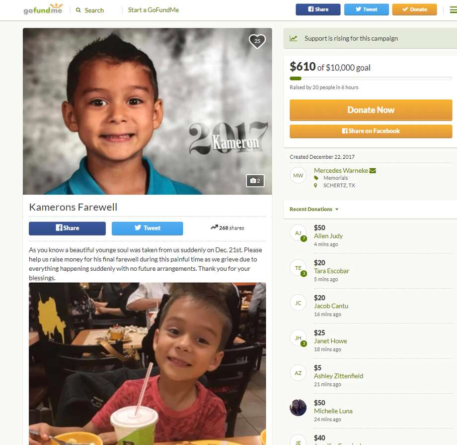 Six-year-old Kameron Prescott died Thursday when he was fatally shot in the abdomen by a stray bullet as Bexar County sheriff's deputies pursued a wanted felon and suspect in a car theft. A GoFundMe page has been created in his honor to pay for funeral expenses.