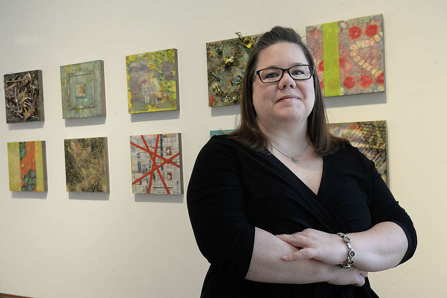"Lamar art student Amy Morris' senior thesis is among the graduating artists' works on exhibit at the Dishman Art Museum. The ten-piece encaustic wax assemblage series entitled ""Submerged"" uses debris and other found items damaged during Harvey's floods to explore the impact of the storm on residents throughout the community.  Photo taken Thursday, December 14, 2017 Kim Brent/The Enterprise Photo: Kim Brent / BEN"