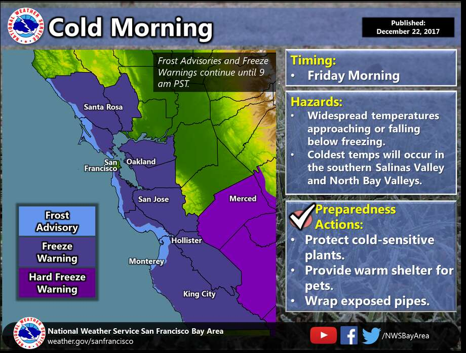 Frost advisories and freeze warnings for the Bay Area go through 9 a.m. on Friday. Photo: National Weather Service Bay Area