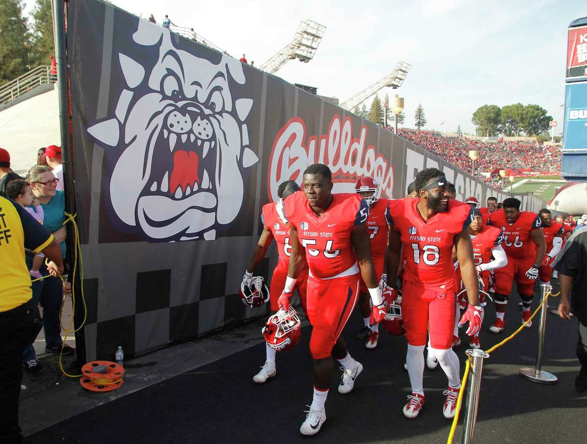 Fresno State's Tobenna Okeke (56) is an Elkins graduate. The Fresno State sack leader will face his hometown Houston Cougars in Sunday's Hawaii Bowl.
