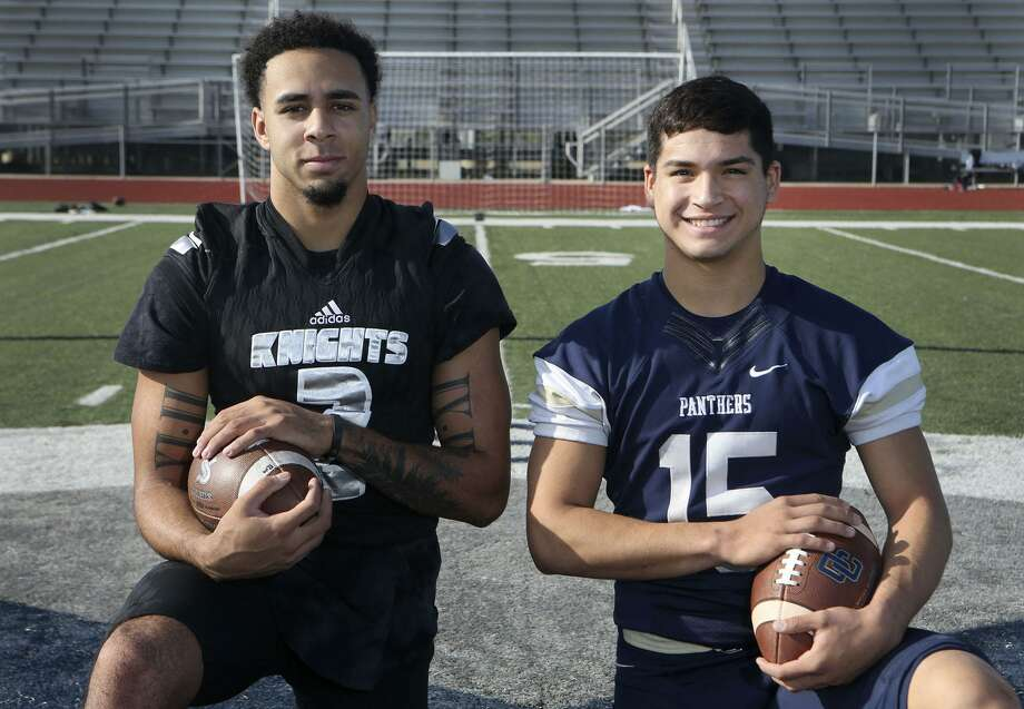 Steele High School defensive back Caden Sterns (left) plans on playing for the University of Texas and is the 2017 Express-News defensive player of the year. Roel Sanchez (right) is the quarterback at O'Connor High School and is the 2017 Express-News offensive player of the year. Photo: John Davenport, STAFF / San Antonio Express-News / ©John Davenport/San Antonio Express-News