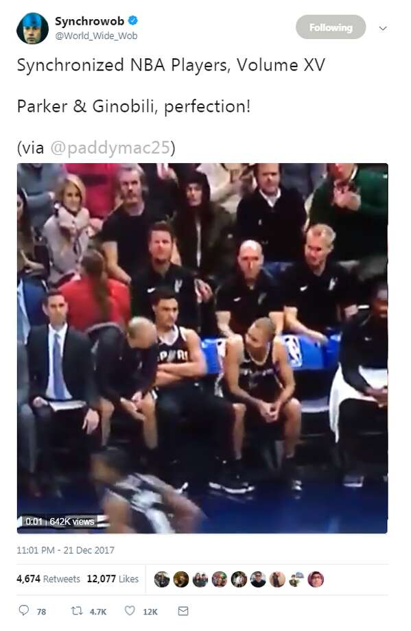 Bryn Forbes sat between the two veterans, but that didn't stop their ability to perfectly time their claps as they reacted to a play during their game against the Utah Jazz. After @paddymac25 tweeted the video, which was then shared by Synchrowob, or @World_Wide_Wob, Ginobili himself weighed in on the bit.