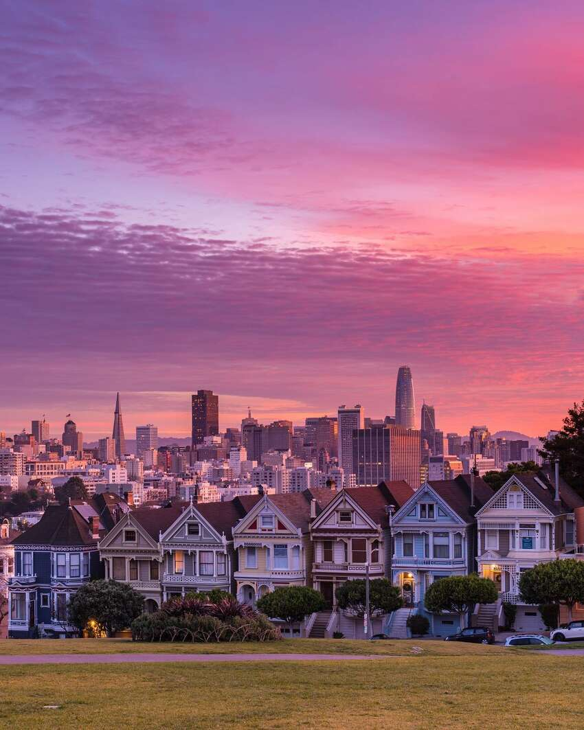 The sunrise is seen over the Painted Ladies in San Francisco on December 22nd.