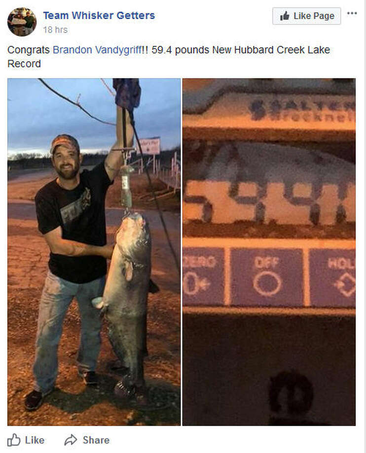 A Lone Star State fisherman is all smiles this week after catching a massive catfish in a lake in North Texas. According to the Hubbard Creek Lake Fishing Facebook page a man named Brandon Vandygriff caught a catfish weighing nearly 60 pounds On Thursday from the lake, just northeast of Abilene. It's a new record for the Breckenridge lake, but not a state record sadly.Source: Team Whisker Getters on FacebookSee more photos of the record catches caught in Texas waters... Photo: Team Whisker Getters / Facebook