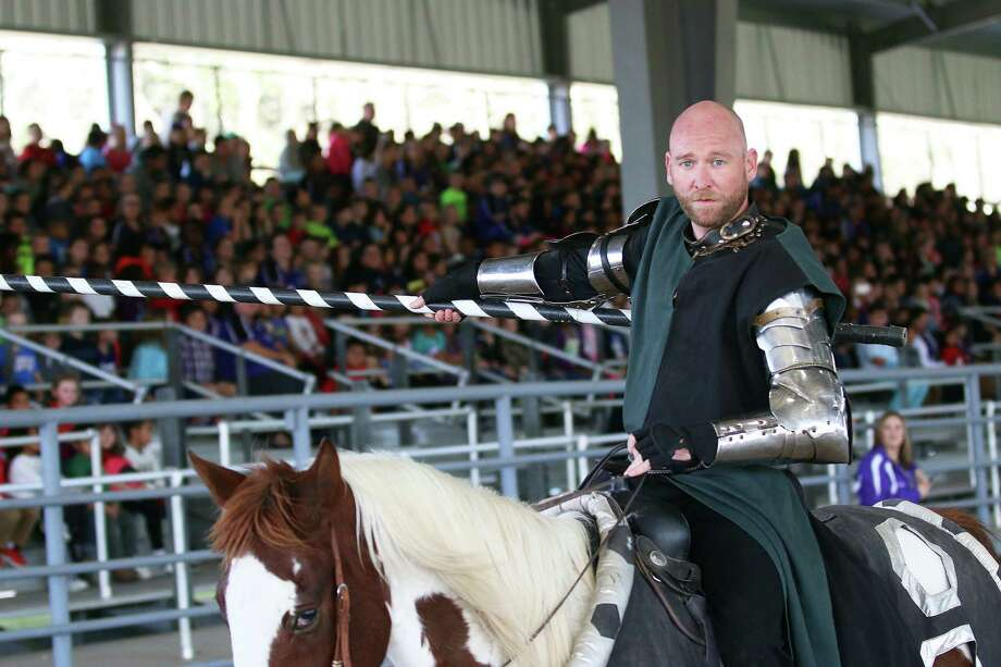 Sir James gets ready for battle at the EarlyAct FirstKnight Tournament of Champions on Tuesday at Anson Rigby Arena in Dayton. Photo: David Taylor