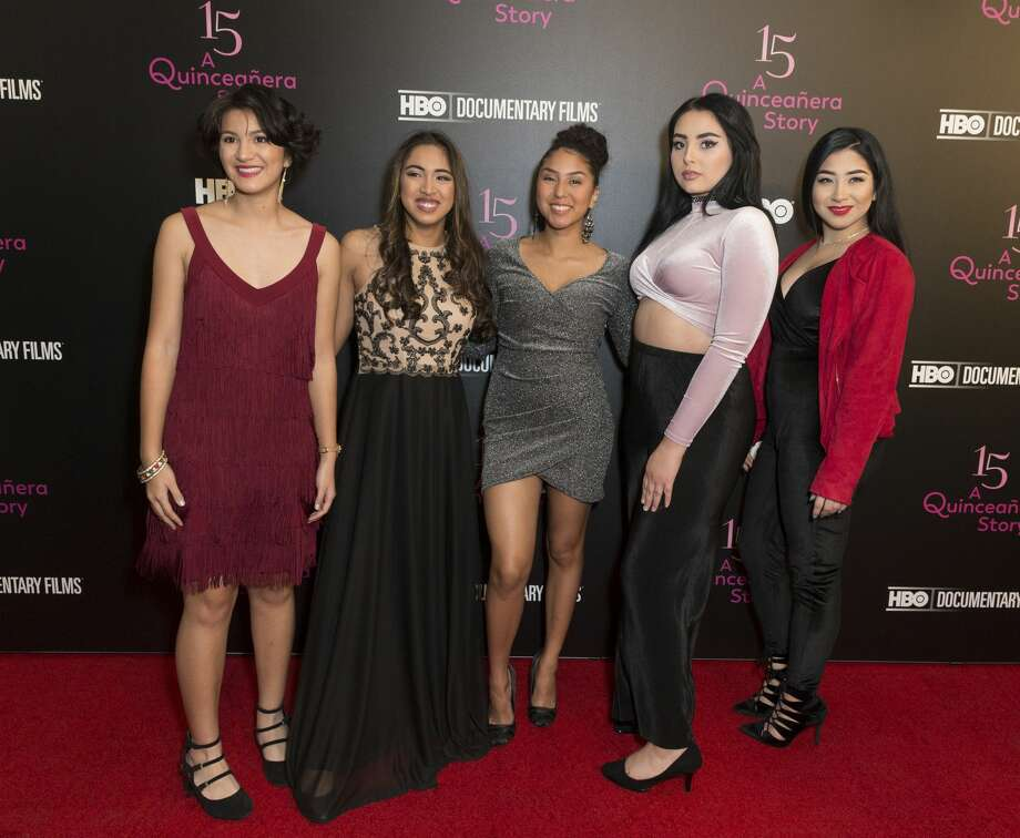 Nina Ozuna, Jackie Ayala, Rosi Alvarez, Zoey Luna, Ashley Lopez attend HBO screening and presentation of 15: A QUINCEANERA STORY at The Garage. Photo: Pacific Press/LightRocket Via Getty Images