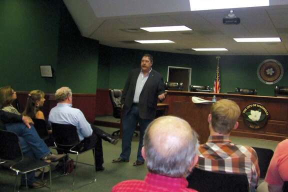 State Rep. Cecil Bell Jr. spoke to a group of Magnolia residents about the work he did in his first year serving in the Texas Legislature. Topics included water needs and transportation funding.