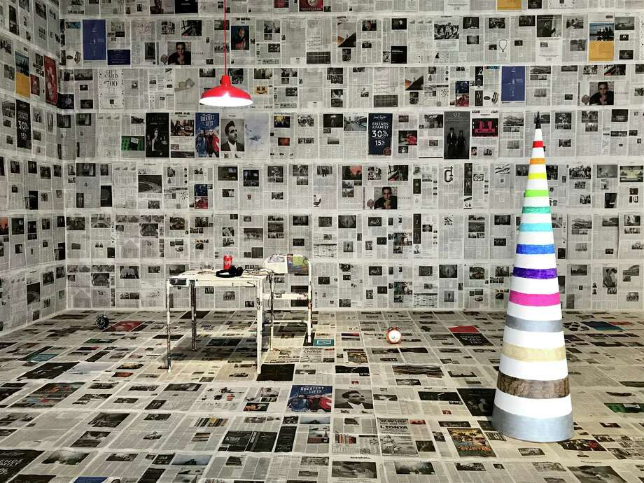 """A view of the recreated set for the performance """"The Sundance Kid is Beautiful with Christopher Knowles,"""" a highlight of """"Christopher Knowles: In a Word,"""" which is on view at the Contemporary Arts Museum Houston through March 25. Photo: Molly Glentzer"""