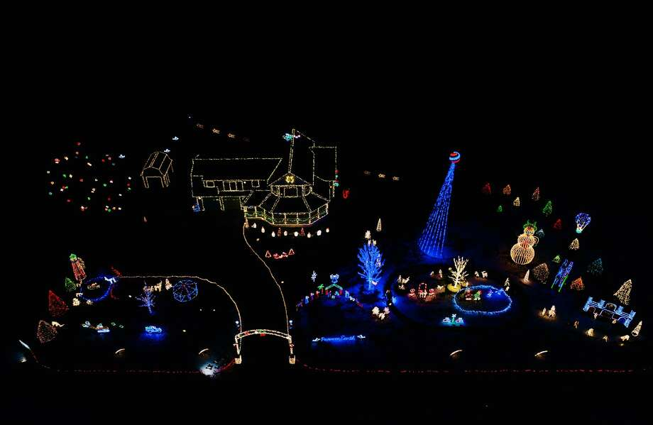 This drone image captures more than 170,000 Christmas lights that are on display at Nicol's Christmas Extravaganza. The Nicol's family started putting decorations and lights galore up on Oct. 28. Christmas-lovers can view the display by heading to 6250 Germania Road in Cass City. Photo: Tyler Leipprandt, Michigan Sky Media/For The Tribune