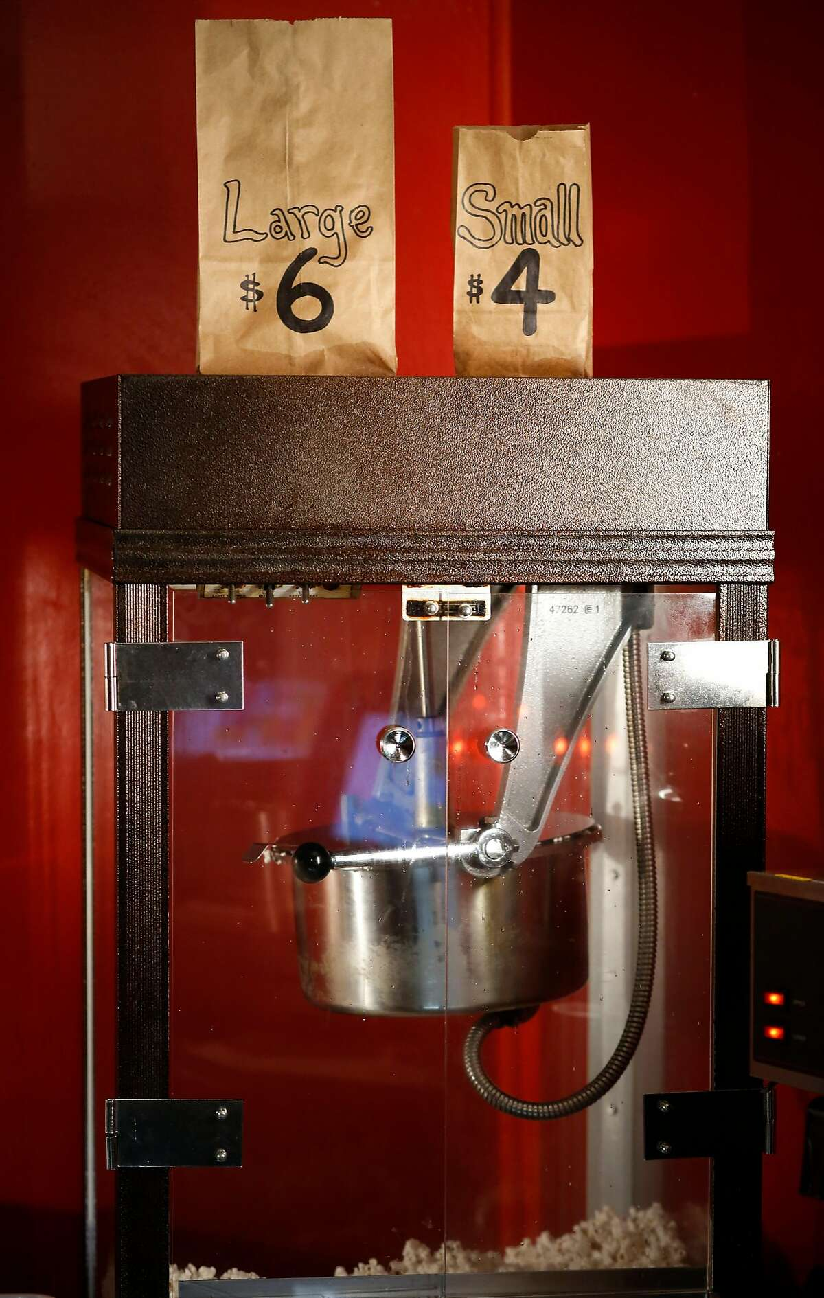 The popcorn machine at the concession stand in the Roxie Theater located on 16th st. in the Mission neighborhood in San Francisco, Ca. seen on Wed. December 20, 2017.