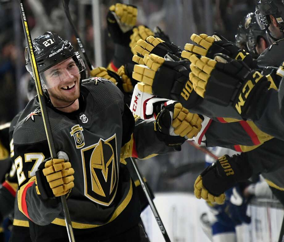 Shea Theodore (27) is part of a surprisingly effective defense corps for the Golden Knights. Photo: Ethan Miller, Getty Images