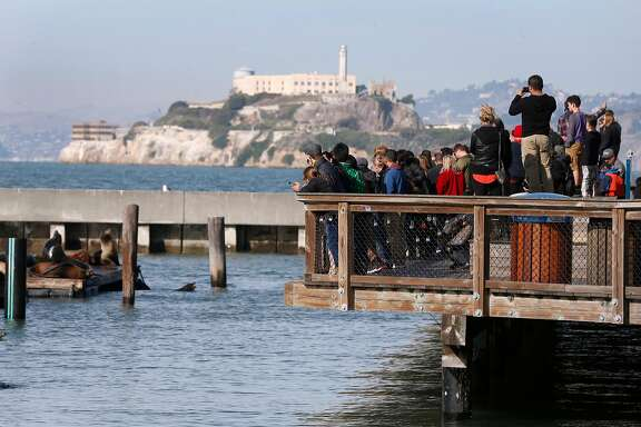 Guests gather to watch the famous sea lions at Pier 39 in San Francisco, Calif. on Friday, Dec. 22, 2017. FBI officials have taken a person into custody who, authorities say, was planning a terrorist attack at the popular tourist destination on Christmas Day.