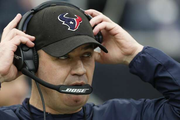 Houston Texans head coach Bill O'Brien dons his headset during the first quarter of an NFL football game against the San Francisco 49ers  at NRG Stadium on Sunday, Dec. 10, 2017, in Houston. ( Brett Coomer / Houston Chronicle )