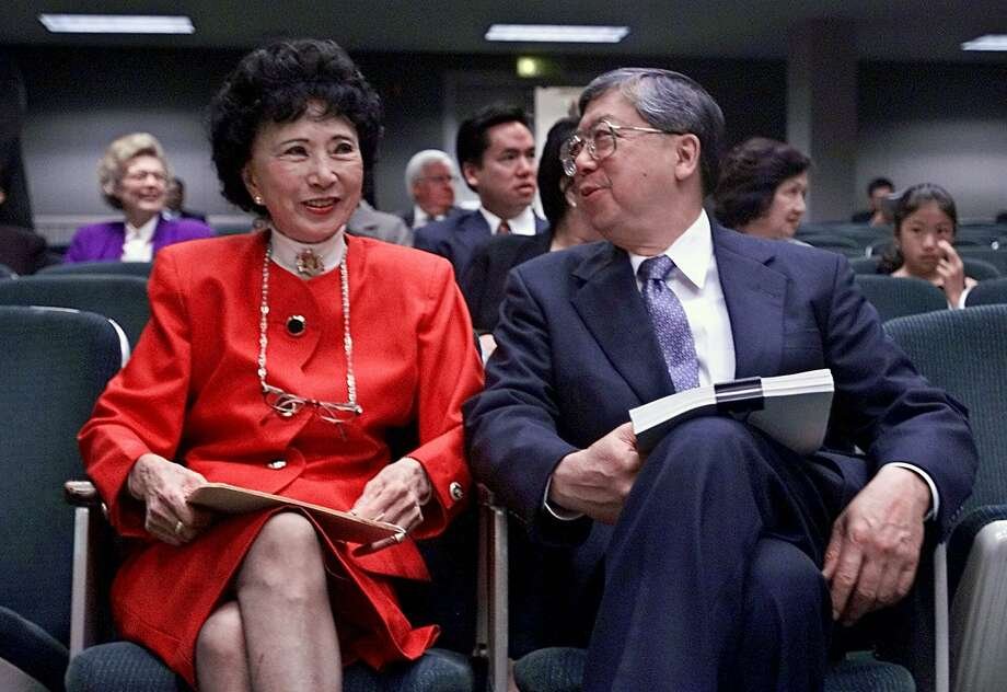 Retired appeals court justice Harry Low, right, talks to former Secretary of State March Fong Eu. Photo: RICH PEDRONCELLI, Associated Press
