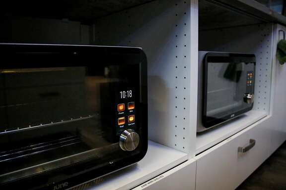 June Intelligent Ovens, which detect what food is placed into it and how long it should be cooked, sits in the kitchen in the June studio in San Francisco on Thursday, July 6, 207.