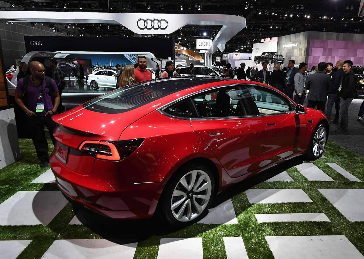Exterior of the new Tesla Model 3, at the 2017 LA Auto Show in Los Angeles, California on November 29, 2017. / AFP PHOTO / Mark RALSTONMARK RALSTON/AFP/Getty Images