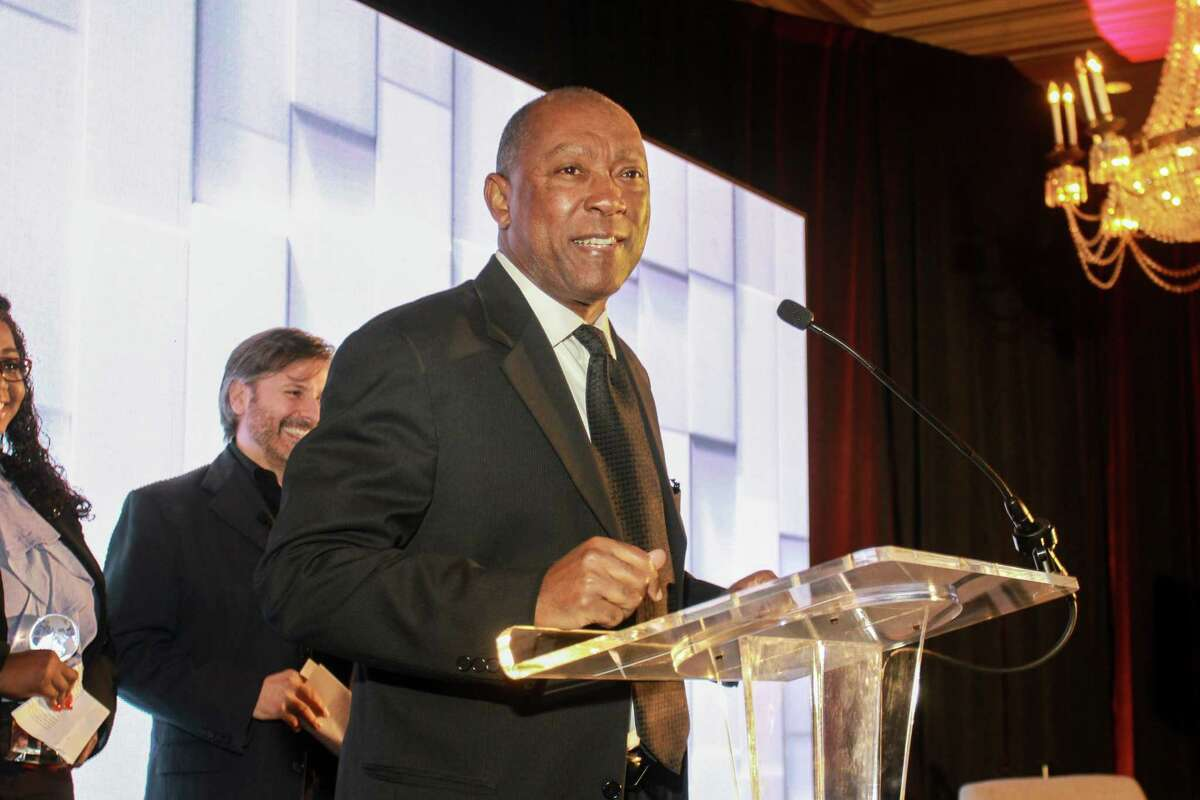 Mayor Sylvester Turner speaking at the World Aids Day luncheon at the Hilton Post Oak. (For the Chronicle/Gary Fountain, December 1, 2017)