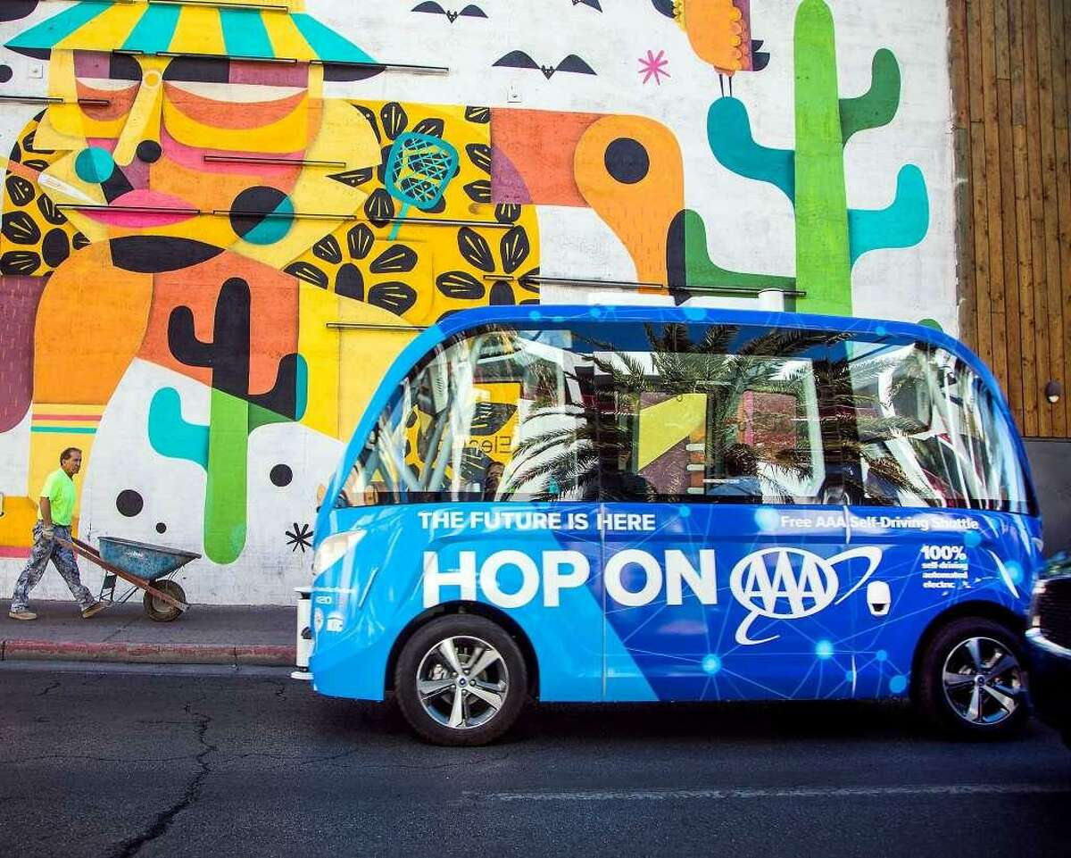 The AAA auto club is operating a self-driving shuttle in downtown Las Vegas.