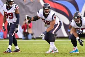 NASHVILLE, TN - DECEMBER 03:  Breno Giacomini #68 of the Houston Texans plays against the Tennessee Titans at Nissan Stadium on December 3, 2017 in Nashville, Tennessee.  (Photo by Frederick Breedon/Getty Images)