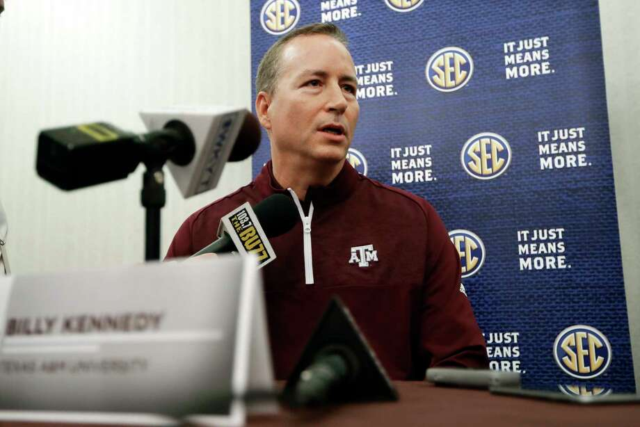 Texas A&M head coach Billy Kennedy answers questions during the Southeastern Conference men's NCAA college basketball media day Wednesday, Oct. 18, 2017, in Nashville, Tenn. (AP Photo/Mark Humphrey) Photo: Mark Humphrey, STF / Copyright 2017 The Associated Press. All rights reserved.