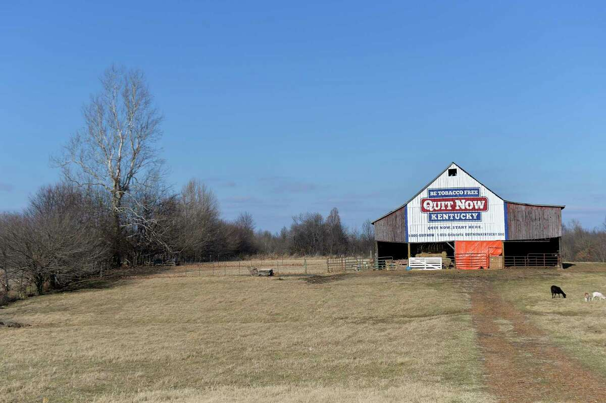 Once it stored tobacco, now this 100 year old barn, seen in a Dec. 15, 2017 photo and owned by former tobacco farmer Michael Vaughn, now displays a message for Kentuckians to quit smoking, in Kevil, Ky. (AP Photo/Timothy D. Easley)