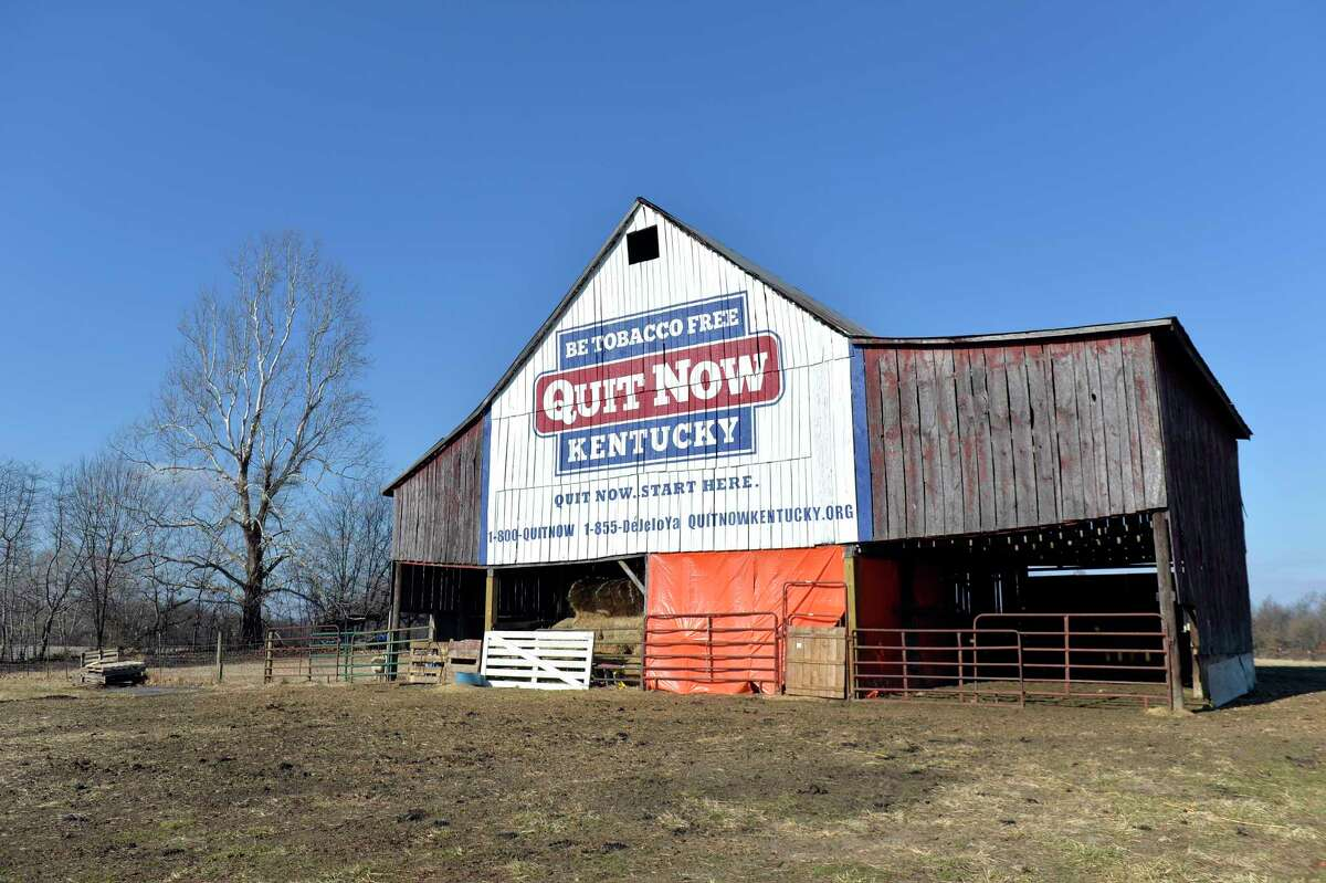 Once it stored tobacco. Now this 100-year-old barn in Kevil, Ky., owned by former tobacco farmer Michiel Vaughn, displays a message for Kentuckians to quit smoking.