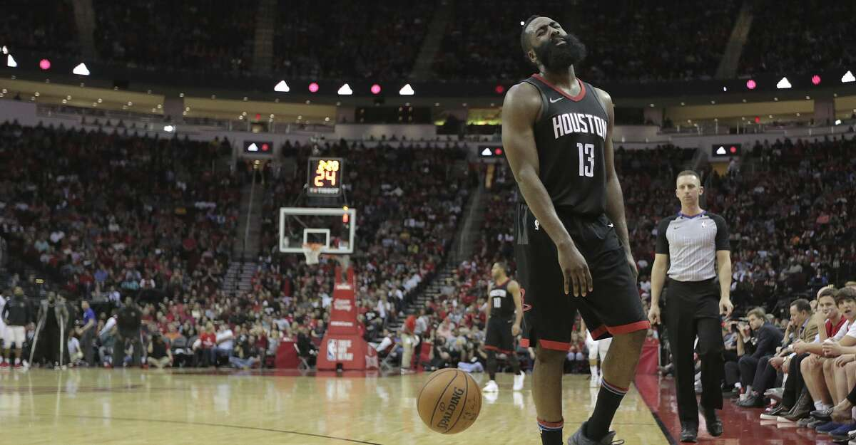 Houston Rockets guard James Harden (13) reacts to being called for a foul while pressing in the second half against the LA Clippers at the Toyota Center on Friday, Dec. 22, 2017, in Houston. Clippers won the game 128-118. ( Elizabeth Conley / Houston Chronicle )