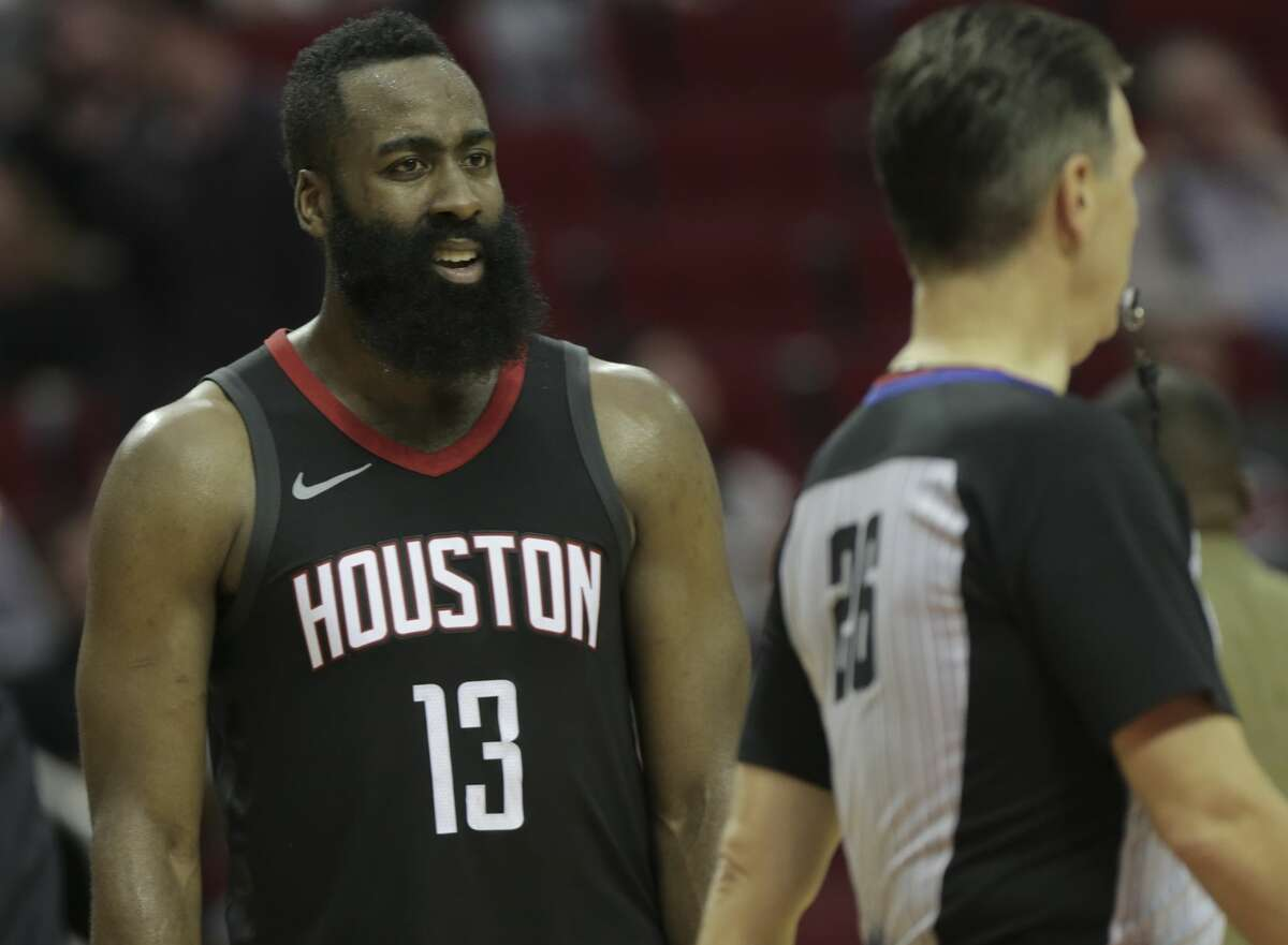 Houston Rockets guard James Harden (13) shows his reaction to a call by NBA referee Pat Fraher during a game against the LA Clippers at the Toyota Center on Friday, Dec. 22, 2017, in Houston. Clippers won the game 128-118. ( Elizabeth Conley / Houston Chronicle )