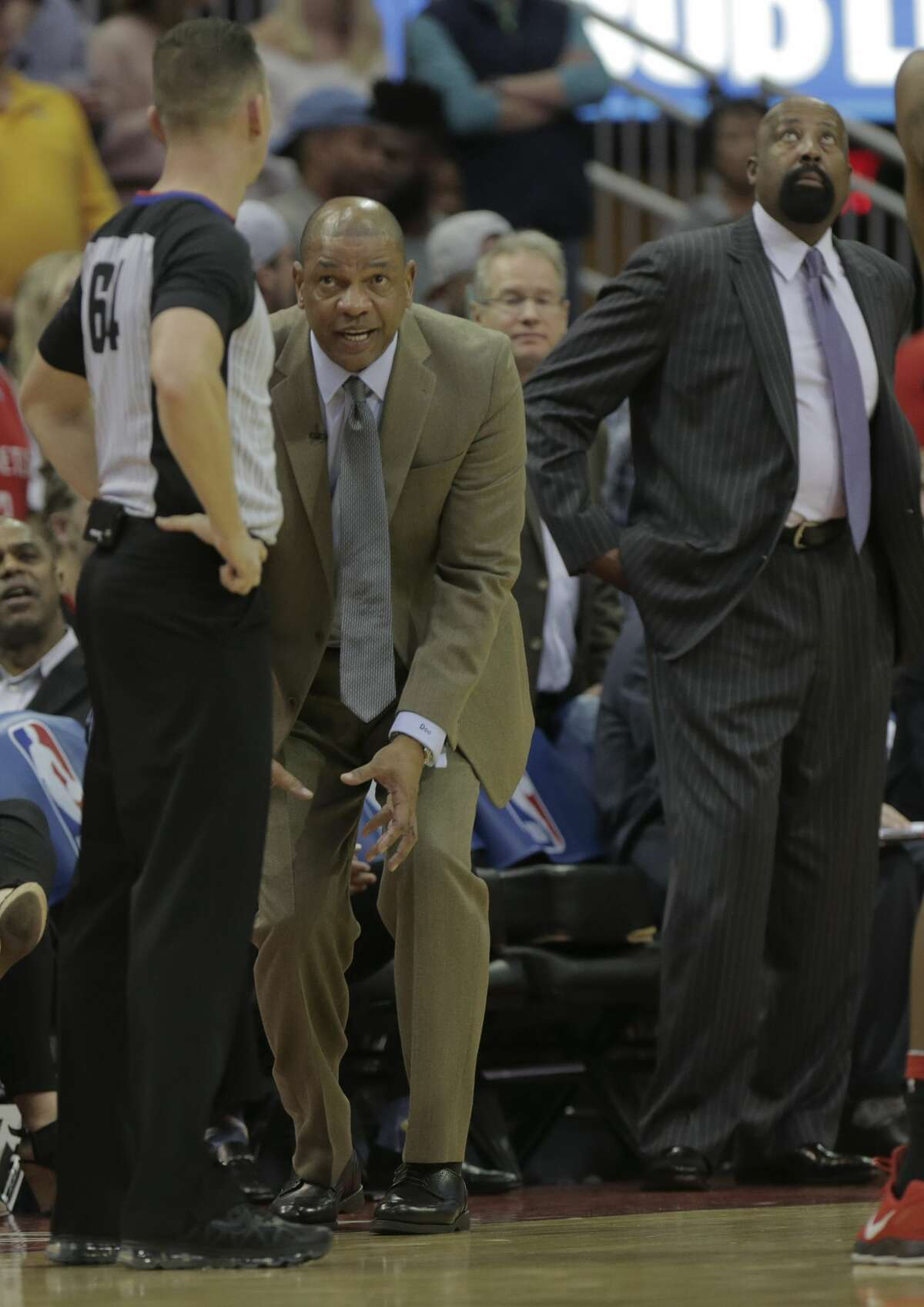 LA Clippers head coach Doc Rivers tries to explain how his player didn't foul during the second half of game action against the Houston Rockets at the Toyota Center on Friday, Dec. 22, 2017, in Houston. Clippers won the game 128-118. ( Elizabeth Conley / Houston Chronicle )