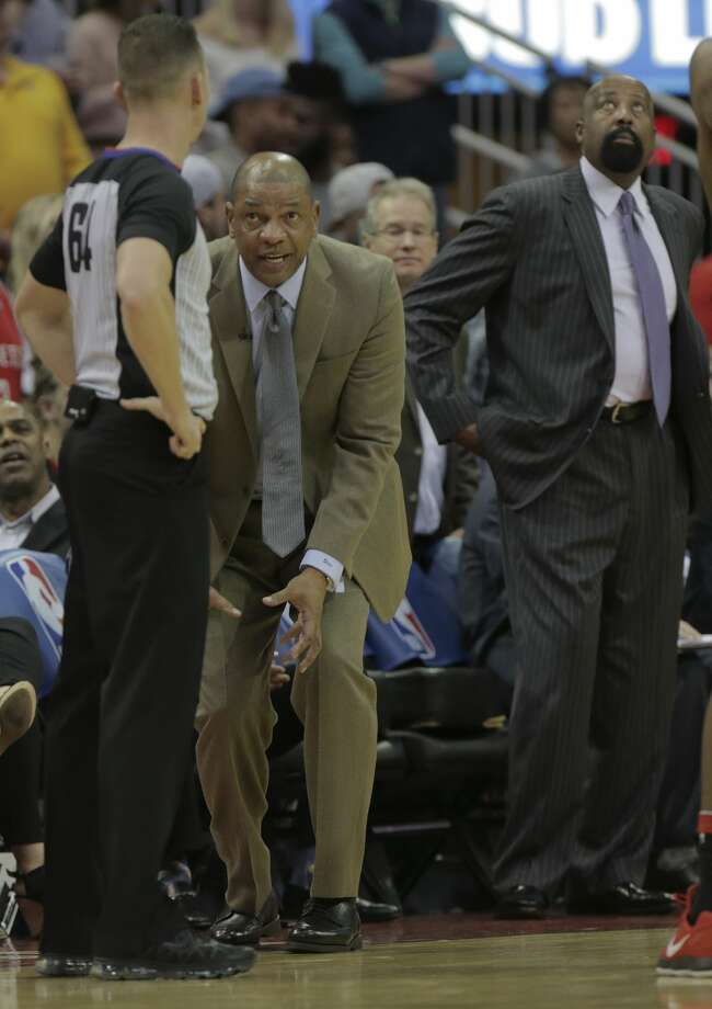 LA Clippers head coach Doc Rivers tries to explain how his player didn't foul during the second half of game action against the Houston Rockets at the Toyota Center on Friday, Dec. 22, 2017, in Houston. Clippers won the game 128-118. ( Elizabeth Conley / Houston Chronicle ) Photo: Elizabeth Conley/Houston Chronicle