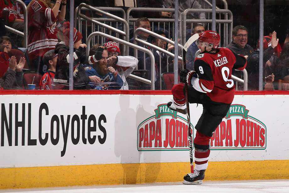 The Coyotes' Clayton Keller celebrates his overtime goal, which ended Arizona's seven-game losing streak. Photo: Christian Petersen, Getty Images
