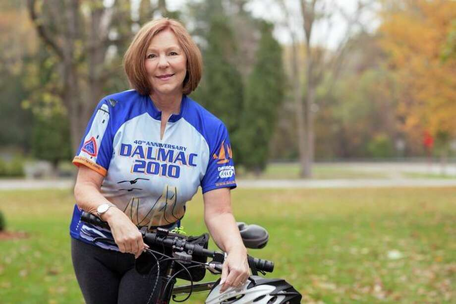 After an outpatient total knee replacement, Jan McGuire was able to resume her end-of-summer tradition of riding in the annual DALMAC bicycle camping tour. (Photo provided)