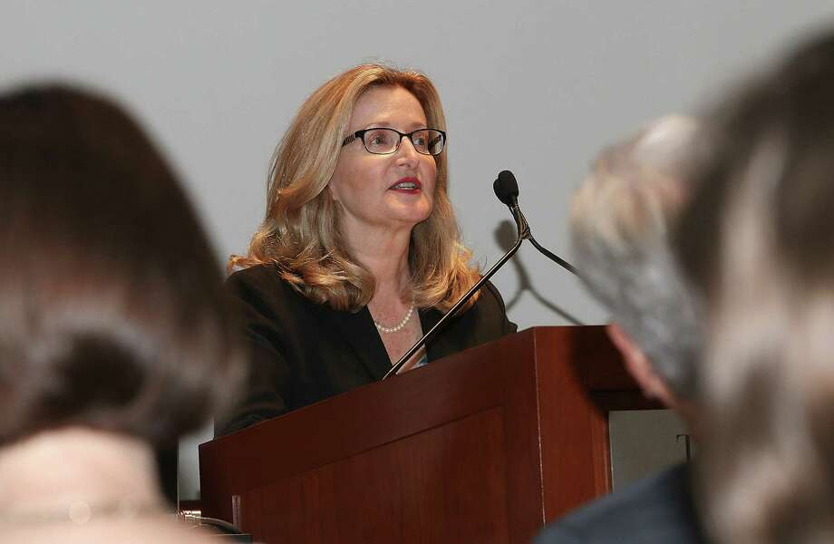 Albany, NY - September 22, 2016 - (Photo by Joe Putrock/Special to the Times Union) - College of St. Rose President Dr.Carolyn Stefanco Speaks before introducing Coca-Cole executive Julie Seitz during the William Randolph Hearst Lecture series held in the Carl E. Touhey Forum, Thelma P. Lally School of Education on the campus of the College of St. Rose in Albany. ORG XMIT: 06 Photo: Joe Putrock / Joe Putrock