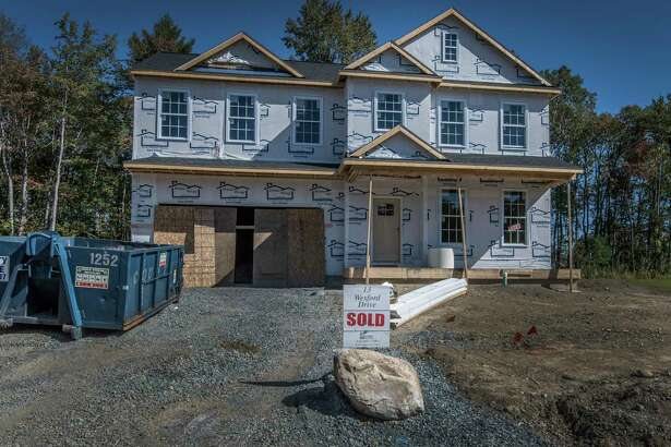 Home under construction on Wexford Drive in the Londonderry Ridge development Monday Oct. 2, 2017 in Latham, N.Y. (Skip Dickstein/Times Union)