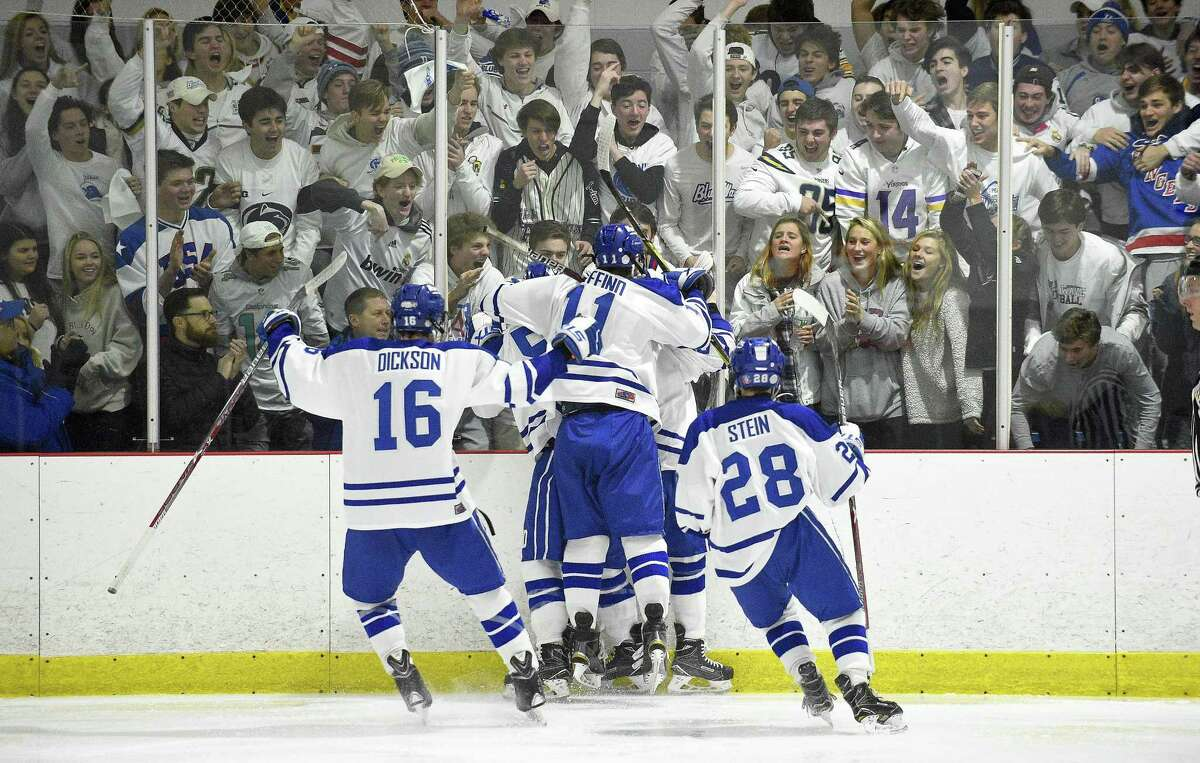 Darien celebrates a Bennett McDermott (22) goal in the second period against New Canaan in a FCIAC boys ice hockey game at the Darien Ice Rink in Darein, Conn. on Saturday, Dec. 23, 2017. Darien defeated New Canaan 8-1.