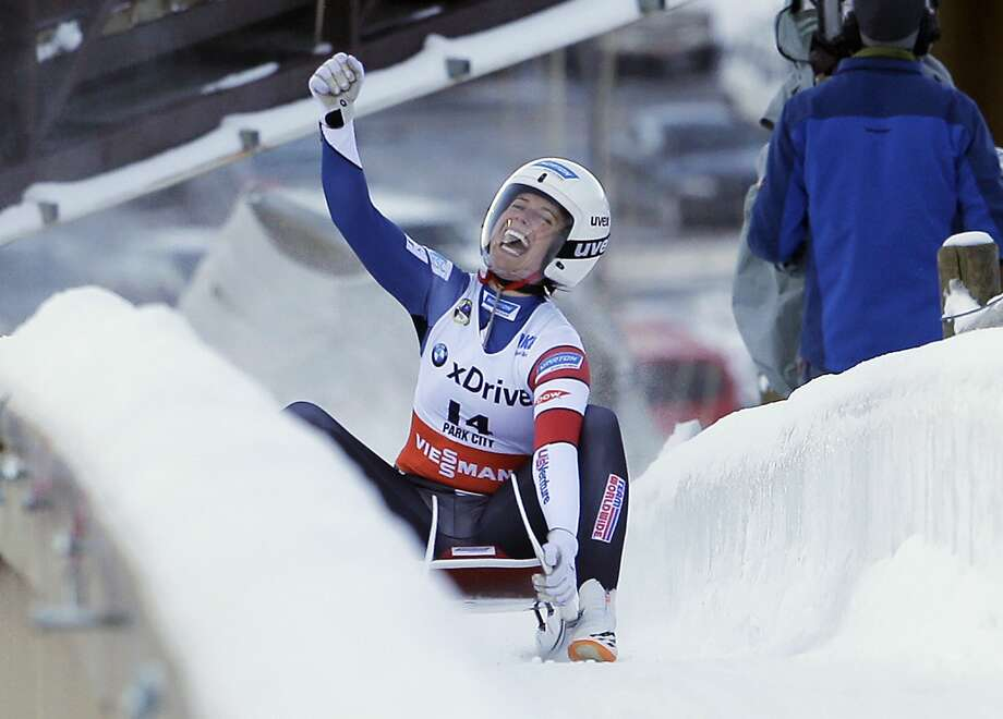 FILE - In this Dec. 17, 2016, file photo, second place finisher Emily Sweeney, of the United States, celebrates as she slides to the finish after a women's World Cup Luge sprint event in Park City, Utah. Sweeney is one of three members of USA Luge's women's team that is headed to Pyeongchang, South Korea, for the winter Olympics.  (AP Photo/Rick Bowmer, File) Photo: Rick Bowmer, Associated Press