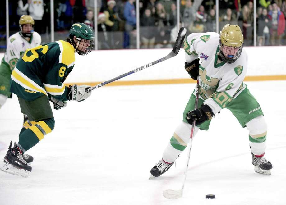 Action from Hamden vs. Notre Dame-West Haven at Bennett Rink in West Haven on December 23, 2017. Photo: Arnold Gold / Hearst Connecticut Media / New Haven Register