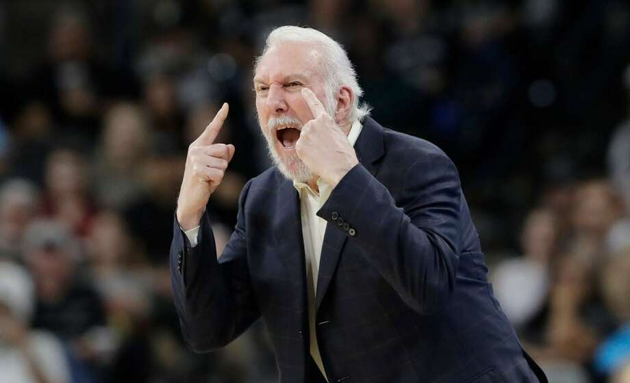 San Antonio Spurs head coach Gregg Popovich argues a call with an official during a Nov. 27, 2017 game against Dallas in San Antonio. Popovich was ejected from the game. Photo: Eric Gay /Associated Press