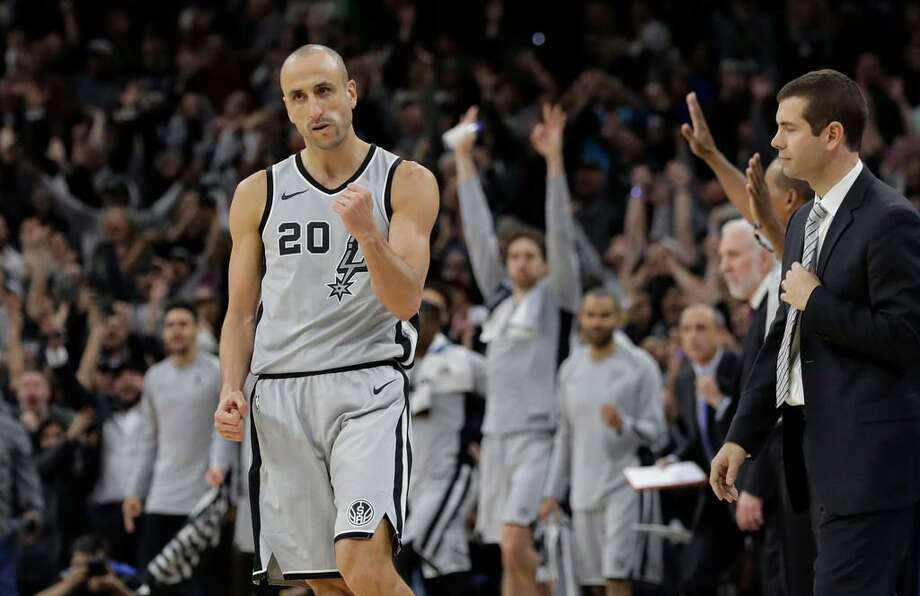 At the age of 40, Manu Ginobili delayed retirement by at least one more year and again contributed significantly off the bench as the Spurs started the 2017-18 season in fine fashion. Here he pumps his fist after hitting the winning shot in the final seconds of a 105-102 victory over Boston on Dec. 8, 2017 at the AT&T Center. Photo: Eric Gay /Associated Press
