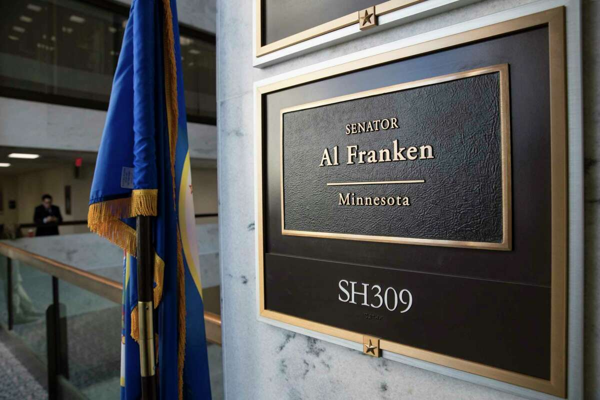 FILE - In this Dec. 7, 2017 file photo, the office of Sen. Al Franken, D-Minn., is seen in the Hart Senate Office Building on Capitol Hill in Washington. Most Americans say sexual misconduct is a major problem in U.S. society wherever people go to work, train or learn, and too little is being done to protect victims. ThatÂ?'s according to a new poll by the Associated Press-NORC Center for Public Affairs Research. (AP Photo/J. Scott Applewhite)