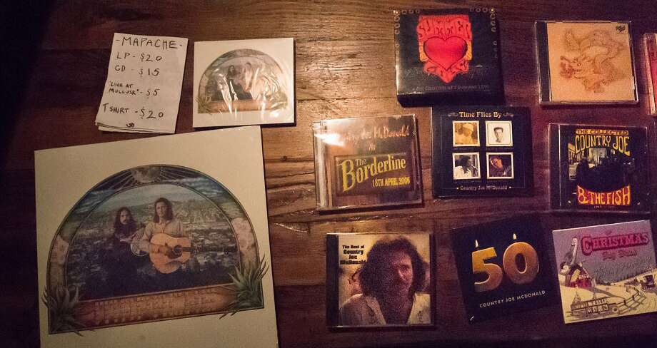 Country Joe McDonald's memorabilia is sold during his retirement show at the Chapel in San Francisco. Photo: Paul Kuroda, Special To The Chronicle
