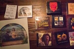 Country Joe McDonald's memorabilia sold during his retirement show on Saturday, Dec. 23, 2017 in San Francisco, Calif.