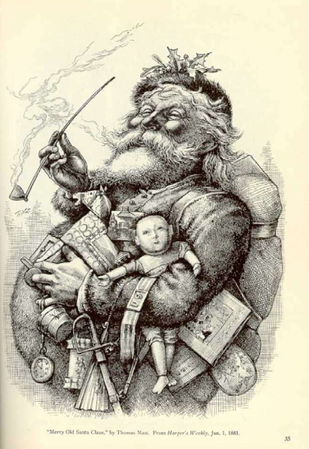 """The image of a fat generous Santa Claus comes from this Thomas Nast illustration titled """"Merry Old Santa Claus"""" from 1881."""
