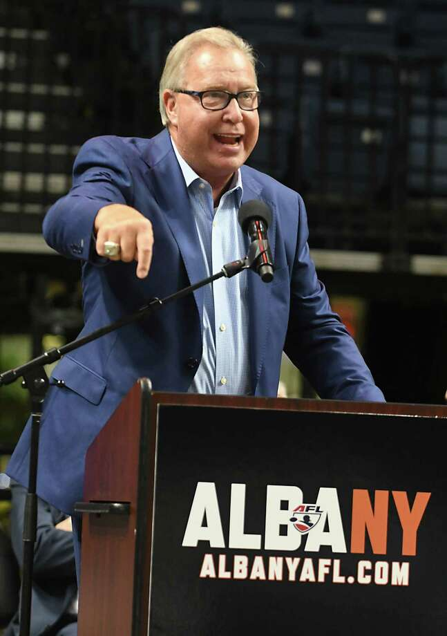Former NFL quarterback Ron Jaworski, who is part of the Albany ownership group, speaks during a meet and greet with Albany arena football players, coaches and owners at an open house at the Times Union Center on Tuesday, Dec. 5, 2017 in Albany, N.Y. (Lori Van Buren / Times Union) Photo: Lori Van Buren / 20042314A