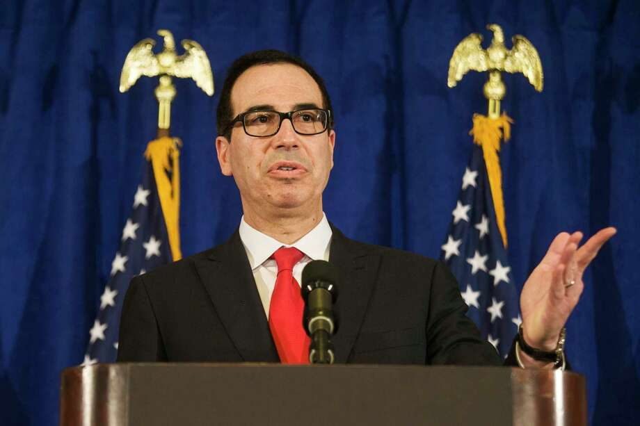 FILE - In this Sept. 21, 2017, file photo, Treasury Secretary Steve Mnuchin speaks at a news briefing at the Hilton Midtown hotel during the United Nations General Assembly, in New York. Authorities said a gift-wrapped box of horse manure addressed to Mnuchin was found near his home in Los Angeles. The package was found Saturday night, Dec. 23, in the tony Bel Air neighborhood after it was dropped off at a neighbor's house. (AP Photo/Andres Kudacki, File) Photo: Andres Kudacki, FRE / FR170905 AP