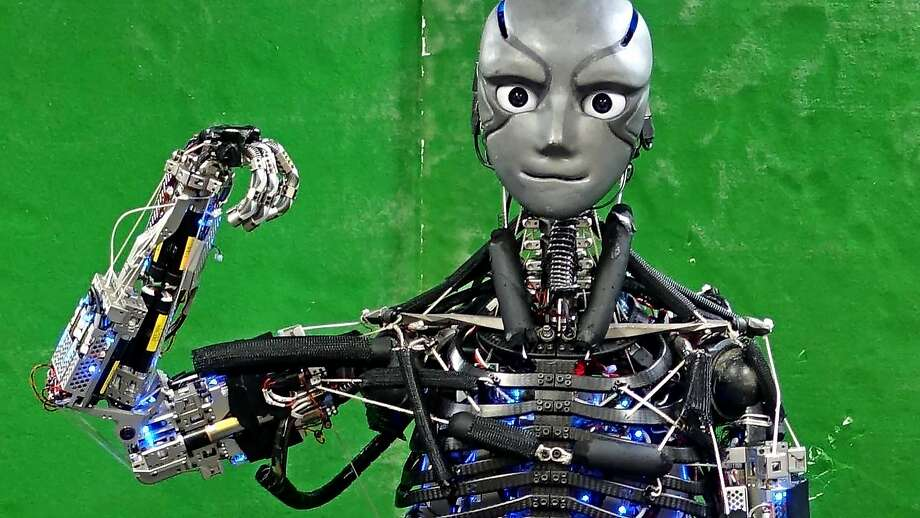 """A robot called Kengoro flexes its """"muscle"""" to give scientists insights into complex human movements. Photo: Science Robotics, TNS"""